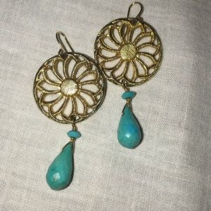 Gold tone and real turquoise drop earrings